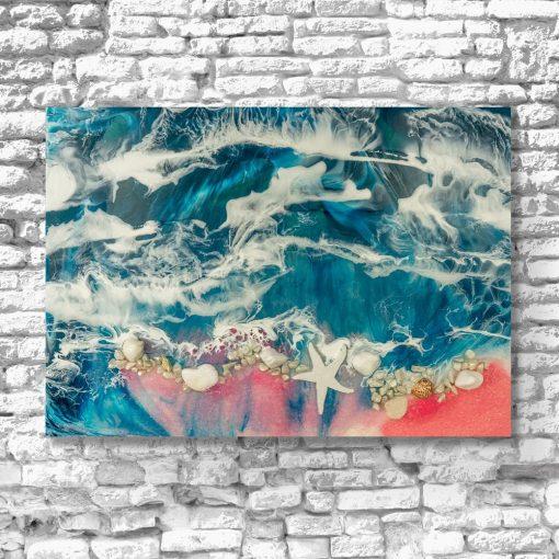 obraz wzór morski z muszelkami niebiesko różowy