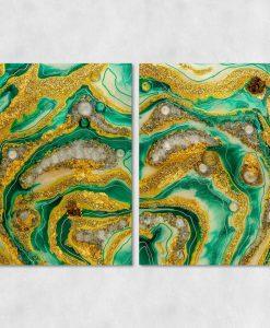 Obraz motyw abstrakcyjny z malarstwem żywicznym kamieniami i złotem