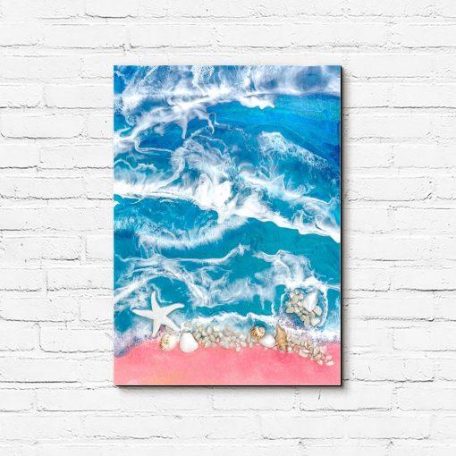 obraz resin sea różowo niebieska dekoracja z kamieniami