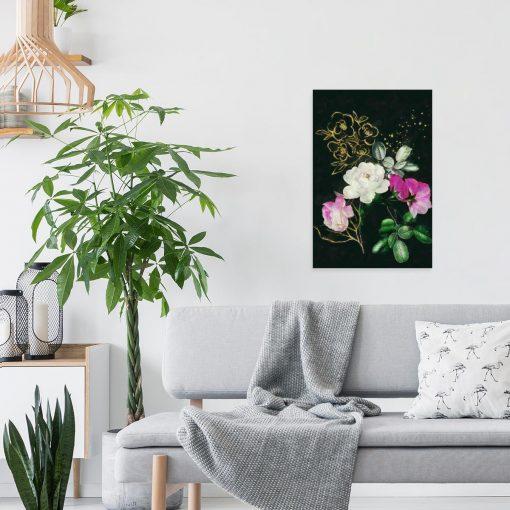 Obraz z kolorowymi kwiatami do salonu