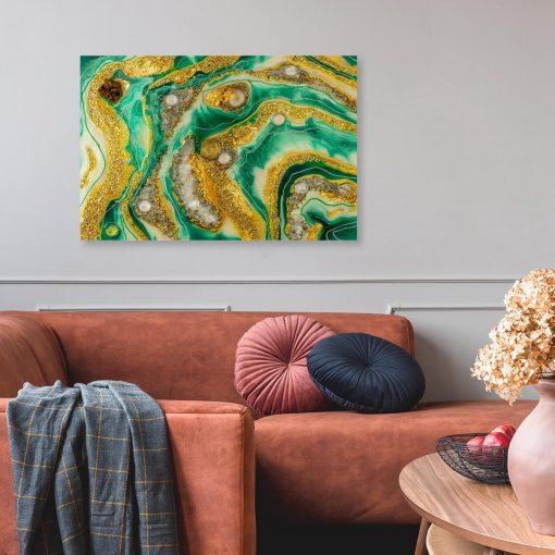 Obraz z żółto zieloną abstrakcją i złotymi elementami