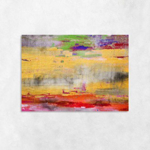 obraz z kolorowymi mazajami na betonowym tle