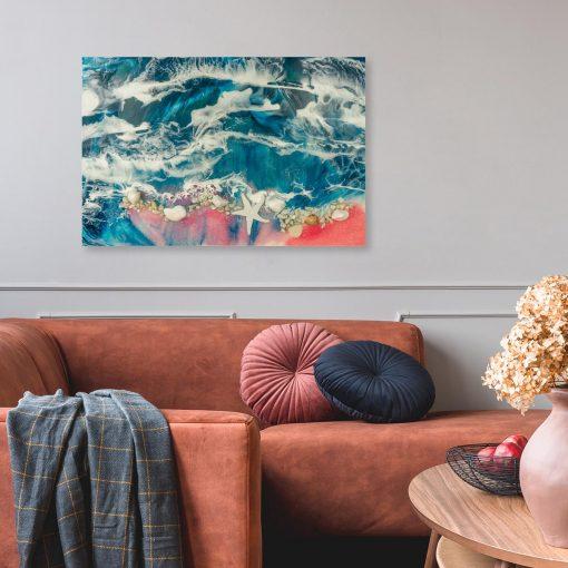 Obraz do sypialni piękne morze z falami z żywicy epoksydowej