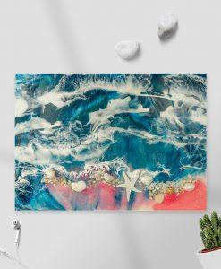 obraz z morzem na ścianę różowo niebieski