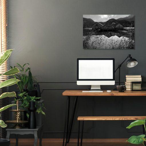 Obraz z domkami na jeziorze do biura