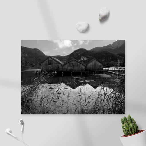 Obraz z domkami na jeziorze do pokoju