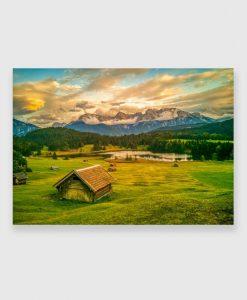 Obraz z widokiem na jezioro Geroldsee do salonu