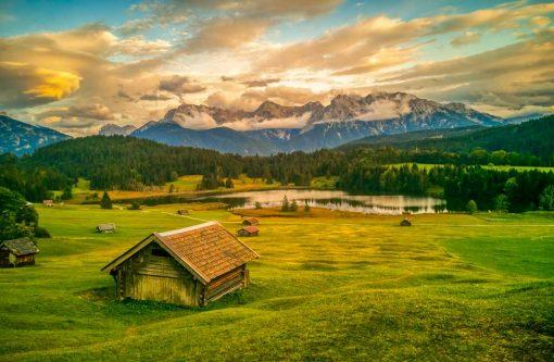 Obraz z widokiem na jezioro Geroldsee