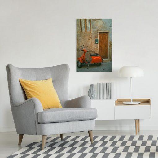 Obraz z pomarańczowym skuterem do dekoracji biura