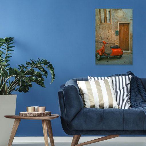Obraz pomarańczowy jednoślad do ozdoby gabinetu