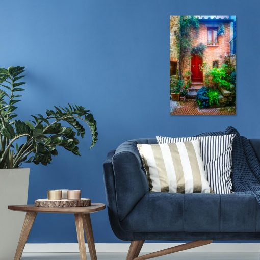 Obraz do salonu z kolorowym domem