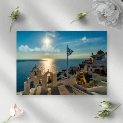 Niebieski obraz przedstawiający grecką wyspę do salonu