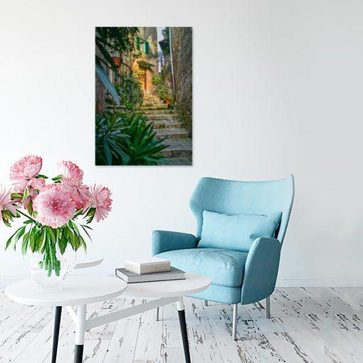 Obraz schody i kwiaty we Włoszech