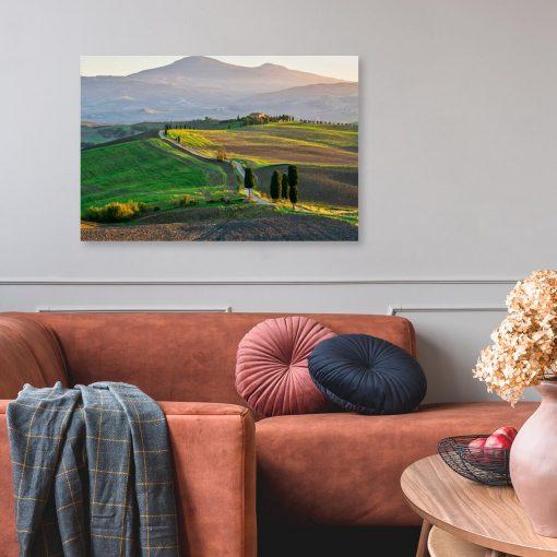 Kolorowy obraz z krajobrazem