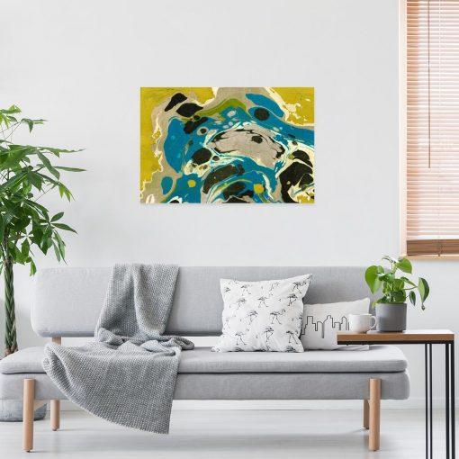 Żółta abstrakcja - Obraz do sypialni