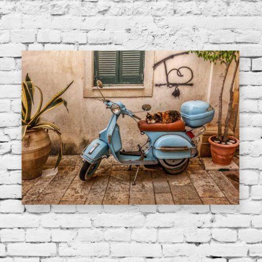 Obraz z niebieskim skuterem do pokoju - Korfu do salonu