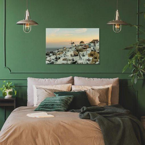 Obraz z grecką wyspą Santorini do sypialni