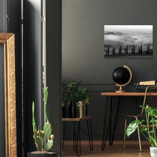 Obraz z szarą perspektywą do dekoracji salonu