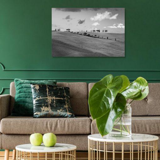 Obraz z motywem pejzażu w szarym kolorze do powieszenia w poczekalni