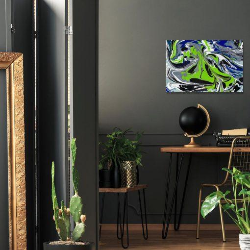 Obraz z niebieską abstrakcją do dekoracji salonu