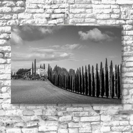 Obraz z szarej tonacji z widokiem na wzgórze z domem