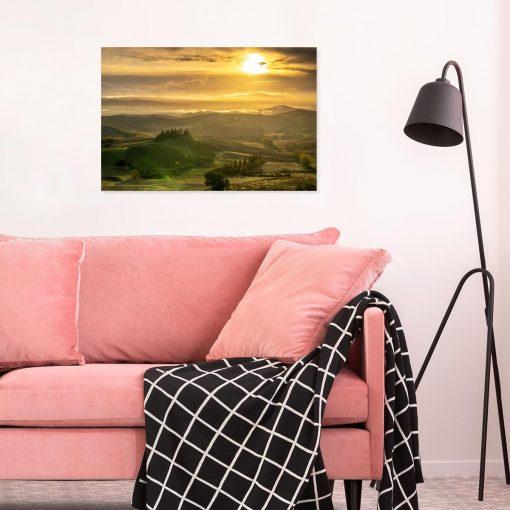 Obraz pejzaż z winnicą na malowniczym wzgórzu