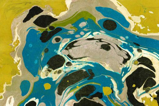 Nowoczesny obraz z niebieską abstrakcją do salonu