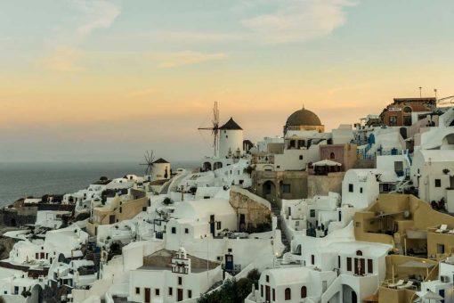 Obraz z grecką wyspą Santorini jadalni
