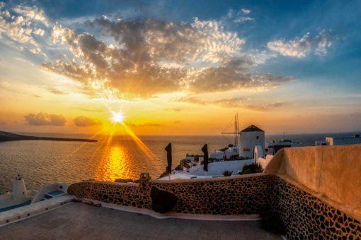 Obraz z morskim krajobrazem Santorini na prezent