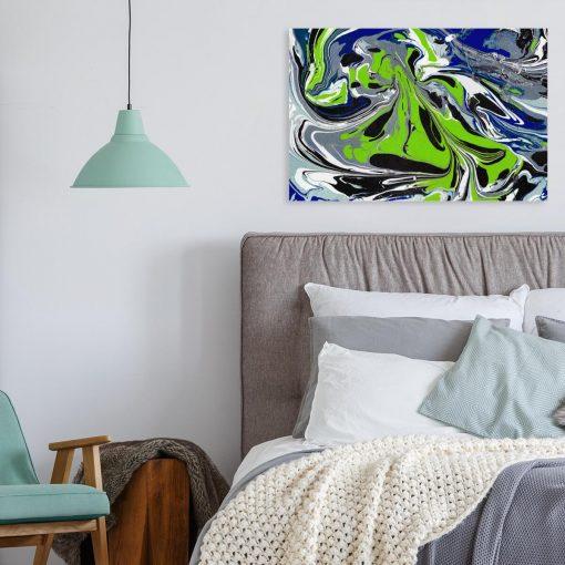 Obraz z abstrakcją w zimnym odcieniu do sypialni