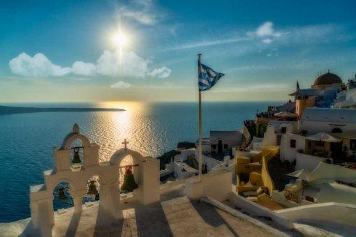 Niebieski obraz przedstawiający grecką wyspę do biura
