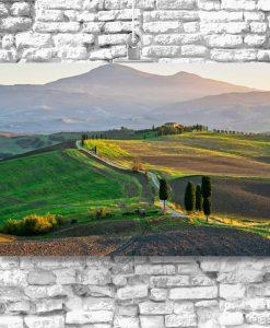 Obraz z widoczkiem na pola i cyprysy
