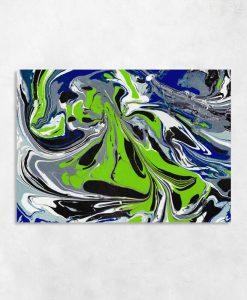Obraz z abstrakcją w zimnych kolorach do sypialni