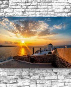 Obraz z morskim krajobrazem Santorini do salonu