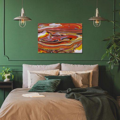 Pomarańczowy obraz z abstrakcją w ciepłej tonacji