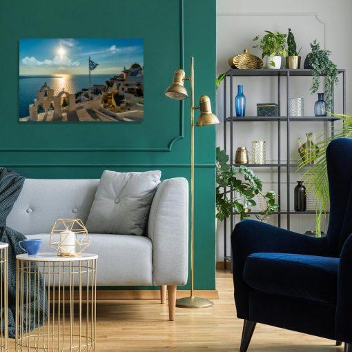 Niebieski obraz przedstawiający grecką wyspę do sypialni