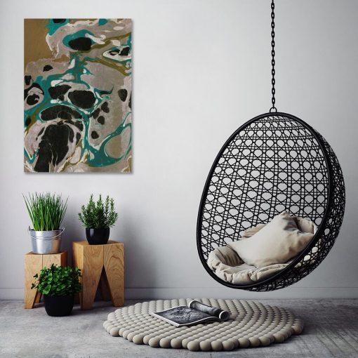 Innowacyjny obraz do salonu - Turkusowa abstrakcja