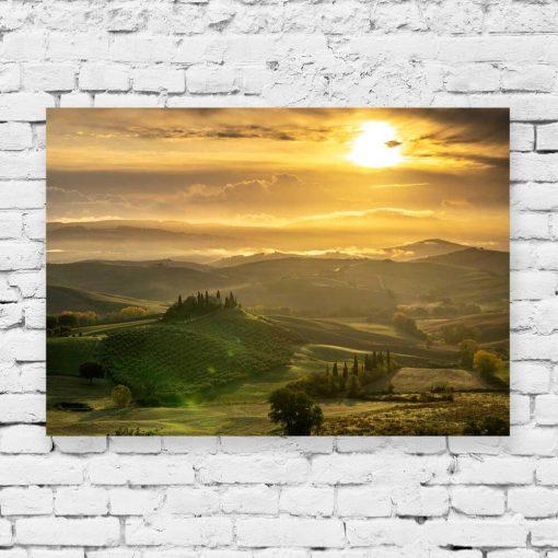 Obraz toskański krajobraz o zachodzie słońca
