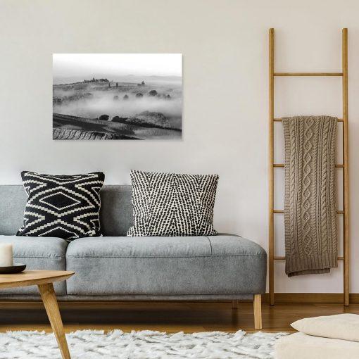 Nowoczesny obraz z górskim widokiem w szarym kolorze do jadalni