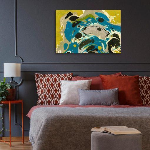 Nowoczesny obraz do salonu z żółtą abstrakcją
