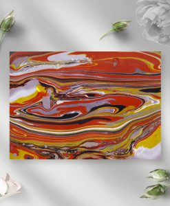 Obraz z motywem żółto-pomarańczowych fal do salonu