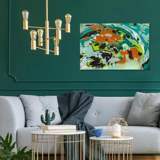 Nowatorski obraz w turkusowym kolorze - Abstrakcja