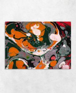 Obraz z abstrakcją w oranżadowym kolorze