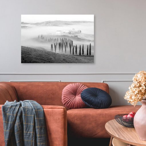 Czarno-biały obraz z krajobrazem górskim do salonu