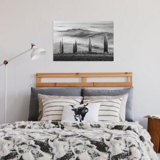 Obraz z widokiem na winnicę na wzgórzu