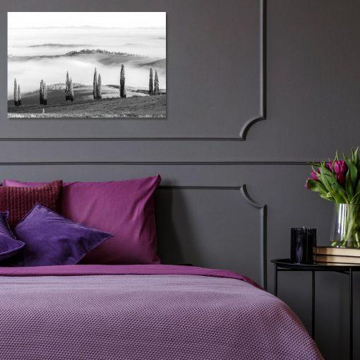 Obraz z motywem wzgórz do sypialni - Czarno-biały