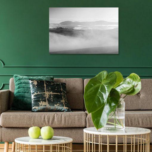 Czarno-biały obraz z widokiem na góry do gabinetu