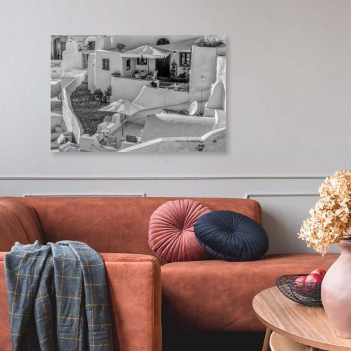 Czarno-biały obraz z widokiem na Santorini do pokoju