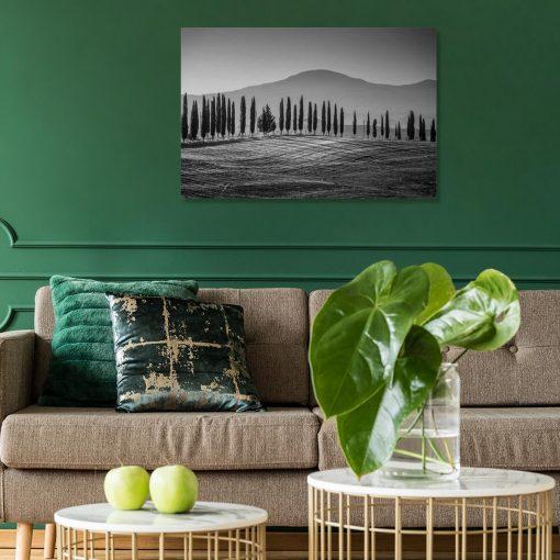 Szary obraz z motywem gór i drzew do salonu