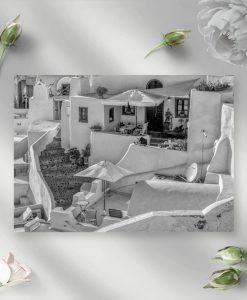Czarno-biały obraz z widokiem na Santorini do biura